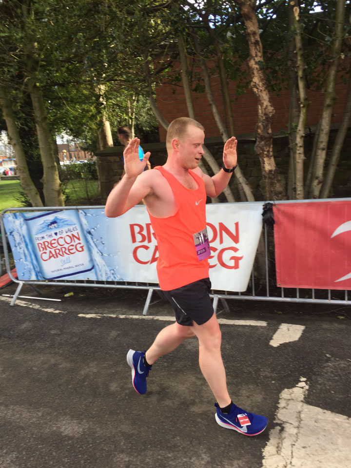 Matty Smith finishes the Wrexham 20-miler